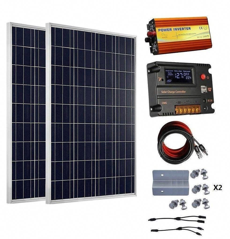 Eco Worthy 200 Watt 2pcs 100 Watt 12v Solar Panel Kit 20a Battery Charge Controller 1000w Off Grid Power Inverter 12v Solar Panel Solar Energy Panels Solar Panels
