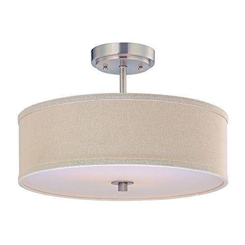 Semiflush Light With Cream Drum Shade 16inches Wide You Can Get More Details By Clicking On Th With Images Flush Mount Ceiling Light Fixtures Ceiling Lights Drum Shade