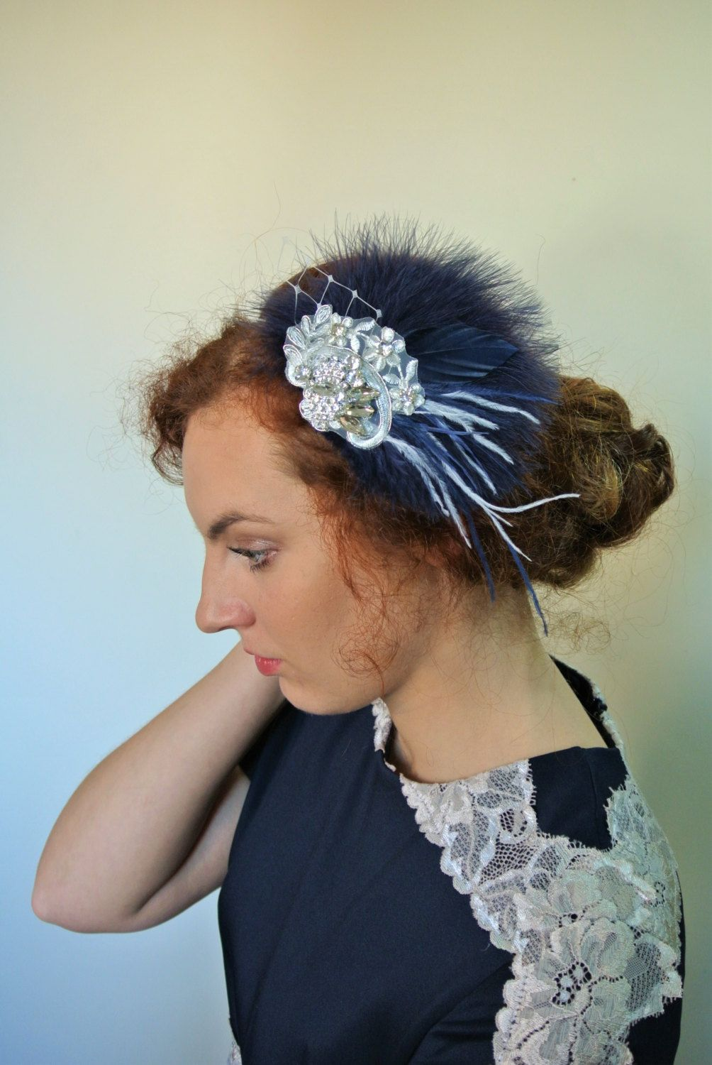 blue wedding fascinator feather hair clip navy vintage style