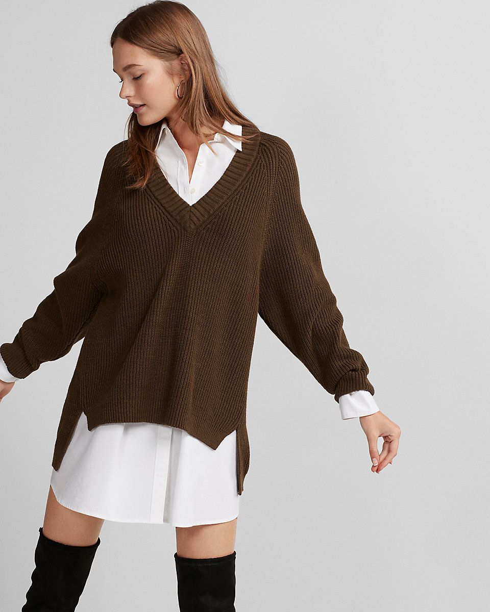 Petite Oversized Deep V-neck Tunic Sweater | pinned it, liked it ...