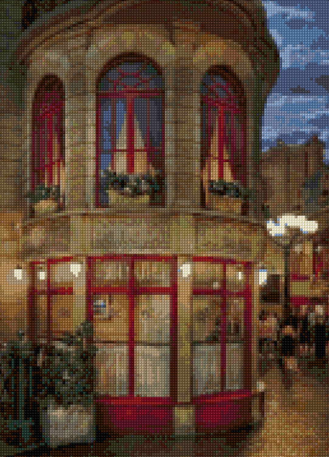 Paris Cafe At Night Cross Stitch Pattern Pdf Instant Download By