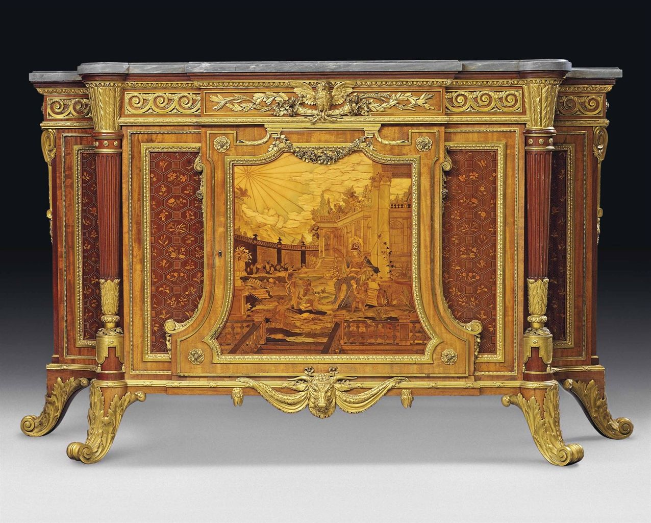 an important napoleon iii ormolu mounted mahogany amaranth fruitwood parquetry and marquetry. Black Bedroom Furniture Sets. Home Design Ideas