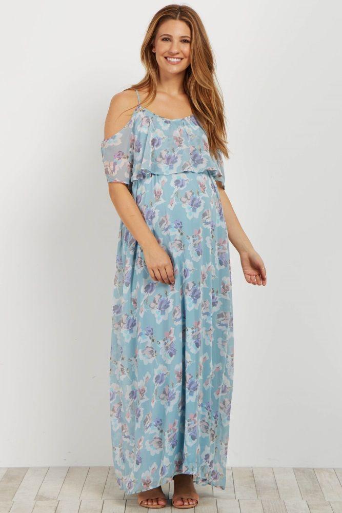 fb352e737b Light Blue Floral Cold Shoulder Maxi Dress | Our Peanut | Floral ...