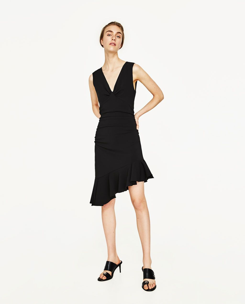 zara - woman - dress with frill | schwarzes kleid zara
