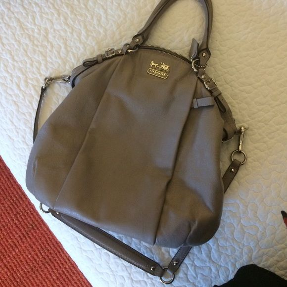 EUC Coach Satchel bag grey taupe silver Beautiful Coach satchel bag with handles and longer strap for shoulder or cross body. Color is a minky taupe grey with silver hardware. Looks brand new! Teal silky lining. Let me know if you want other pictures! Coach Bags Satchels