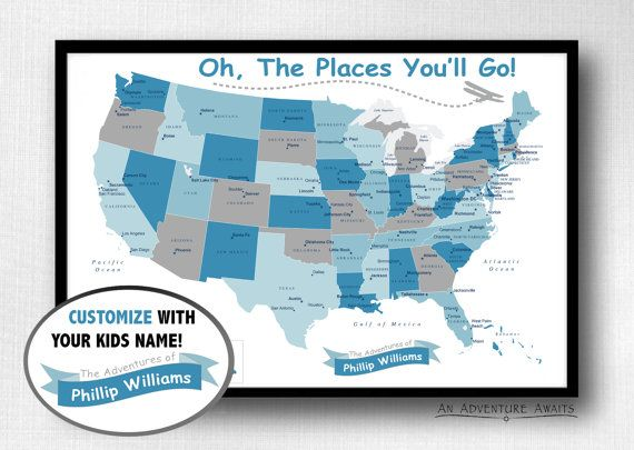 Childrens USA Travel Map Print Only Oh The By AnAdventureAwaits - Children's maps to print