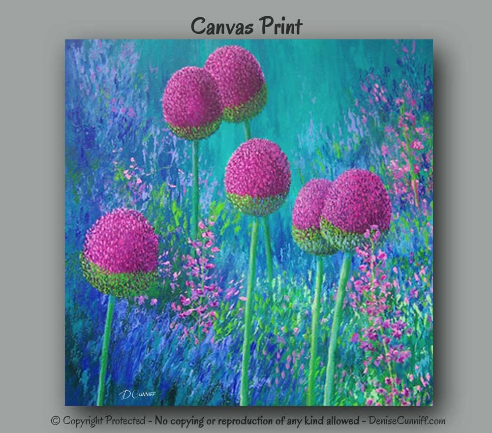 Abstract floral painting square print blue magenta lime