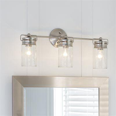 Lighting Fixtures For Bathroom allen + roth 3-light vallymede brushed nickel bathroom vanity