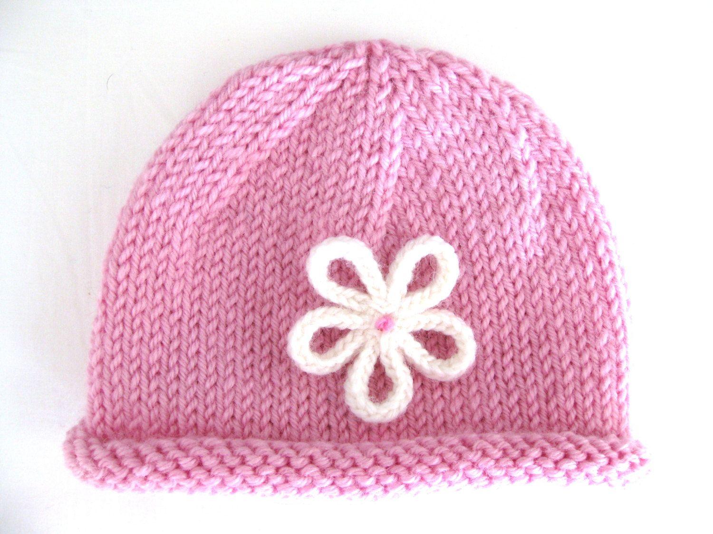Preemie pattern spiral hat beanie knit flower prem girl purple 8ply ...