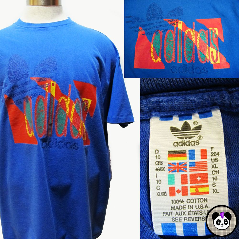 4fe7ecf3b Vtg 80s Adidas Trefoil Bright Color Tribal USA Made 100% Cotton T Shirt  Size XL #adidas #GraphicTee #retro #90s #hiphop #streetwear #tribal