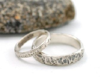 Tooled With Love Wedding Ring Palladium Sterling Silver Band 5mm And 3mm Set