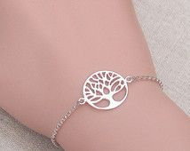 Silver tree bracelet, sterling silver rolo chain, delicate simple everyday jewelry, layering bracelet, tree of life, gift for her