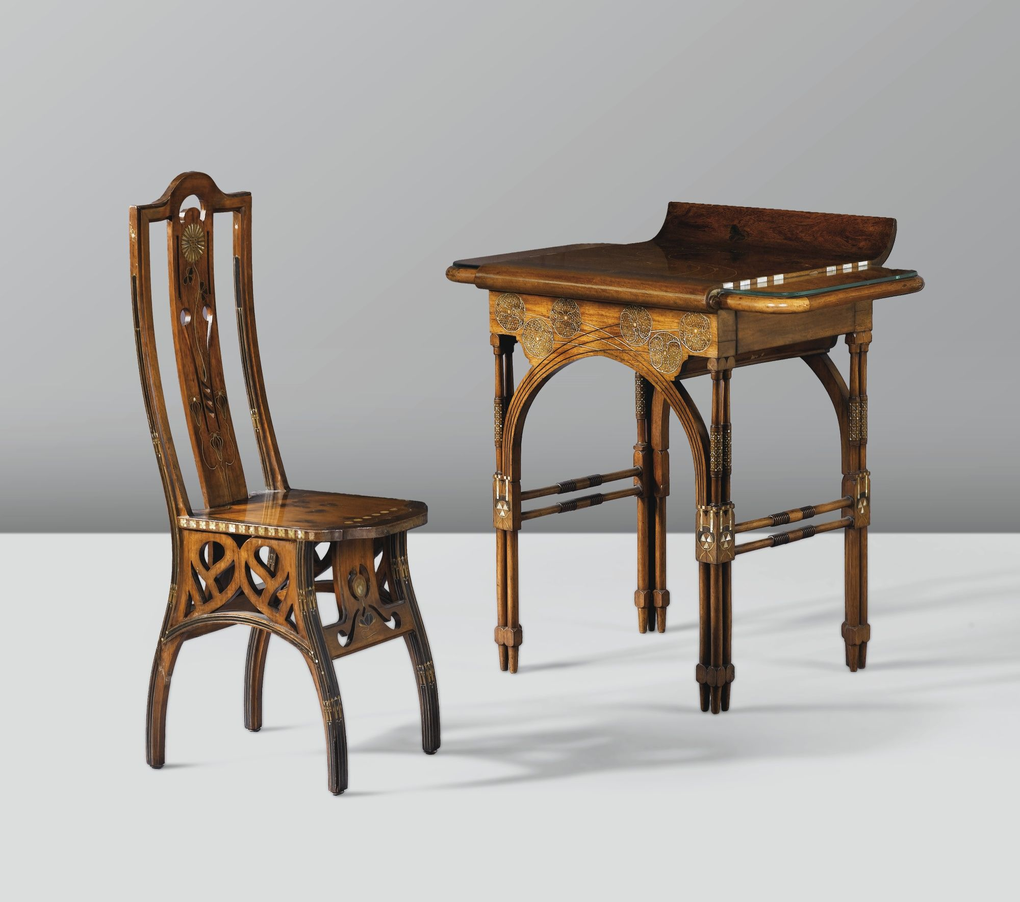 eugenio quarti 1867 1929 dressing table chair walnut with fruitwood silver brass. Black Bedroom Furniture Sets. Home Design Ideas