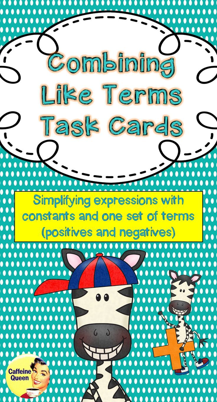Combining Like Terms - Simplifying Expressions - Positive and ...