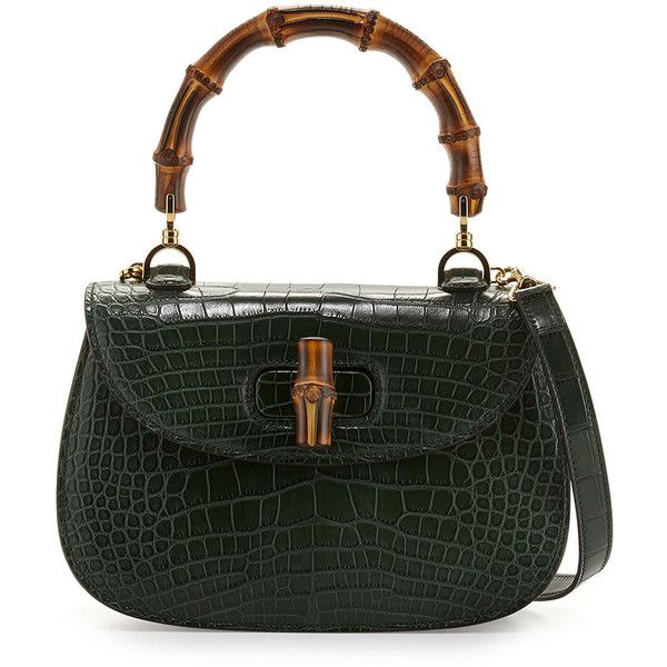 Gucci Bamboo Classic Small Crocodile Bag ( 24,000) ❤ liked on Polyvore  featuring bags, handbags, emerald green, croc handbags, croco handbag,  bamboo handle ... af699fcd4e3