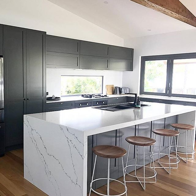 Granite Kitchen Bench Tops: FEELING Grey • This Modern Shaker Style Kitchen By
