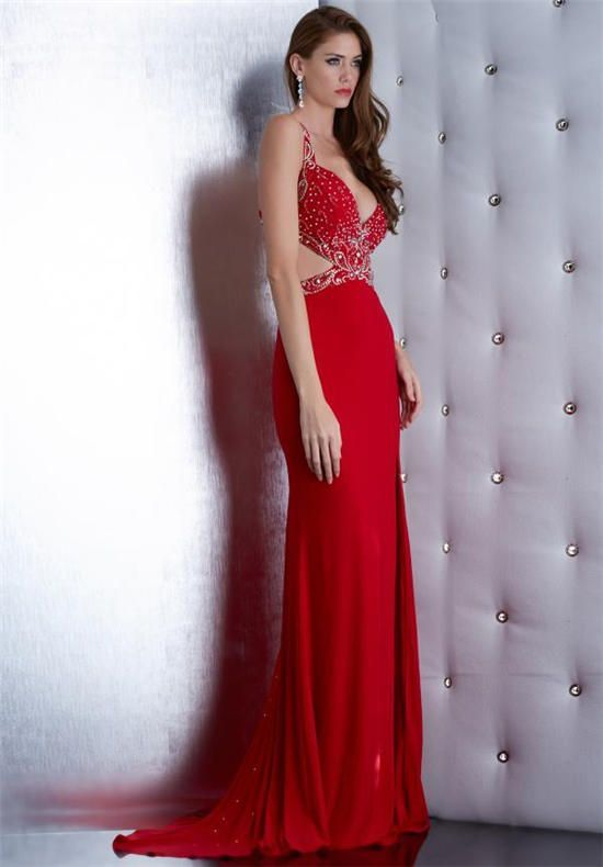 Nice Evening Dresses Jasz Couture 5452 Long Red Beaded Prom Dresses ...