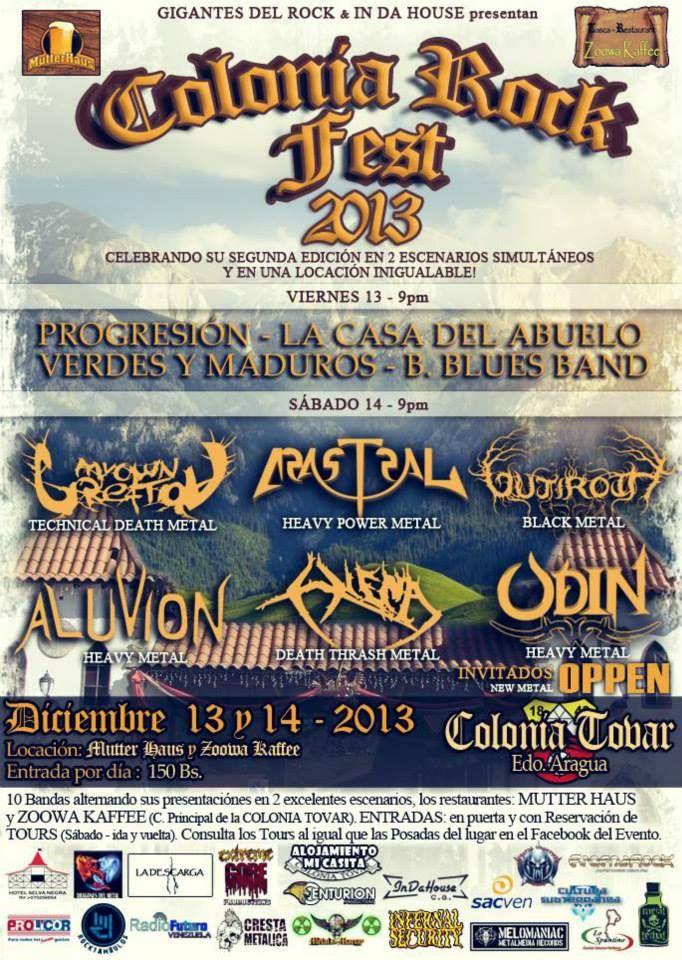"""Cresta Metálica Producciones » GIGANTES DEL ROCK & IN DA HOUSE PRESENTAN: """"COLONIA ROCK FEST 2013″ (MARACAY) // 13 Y 14 DE DICIEMBRE 2013"""