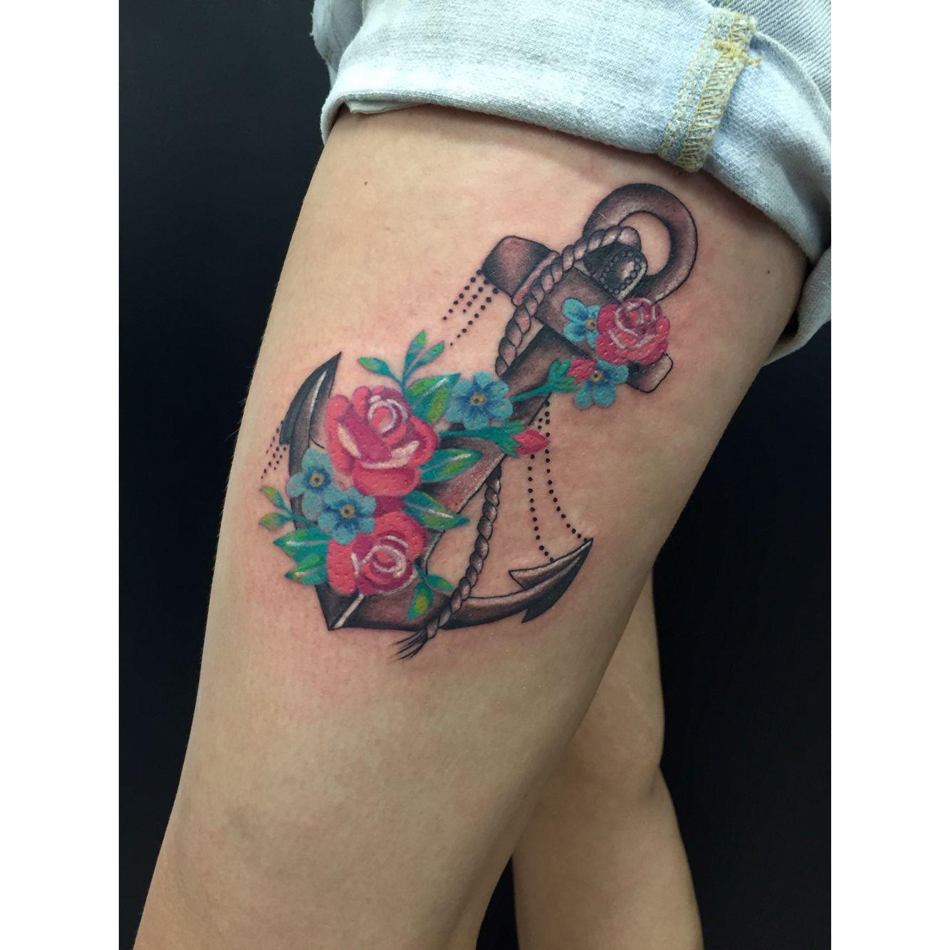 Flower anchor Tattoos, Anchor, Skull