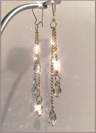 136924072 Free DIY Video Tutorial on How to Make these Beautiful Swarovski Crystal  Dangle Earrings! 6010-13mm Briolette Pendants in Crystal Silver Shade -  Wholesale ...
