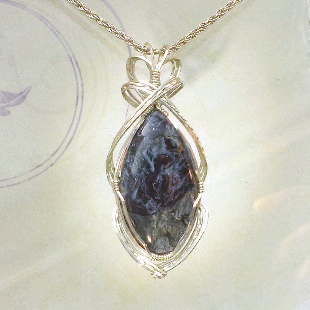 Blue Pietersite Pendant Necklace Wire Wrapped Jewelry Handmade in ...