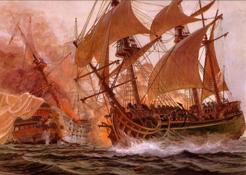 """Un navío de tres puentes comienza a arder. de """"La Vie Privée Des Hommes-A Bord Des Grands Voiliers Du XVIIIè Siècle"""" Más en www.elgrancapitan.org/foro"""