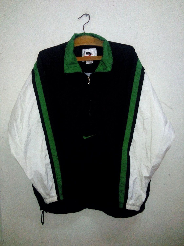 SALE Vintage 90 s NIKE Sport Swoosh Half Zipper Trainer Track Green Jacket  Big… b3733e4fb
