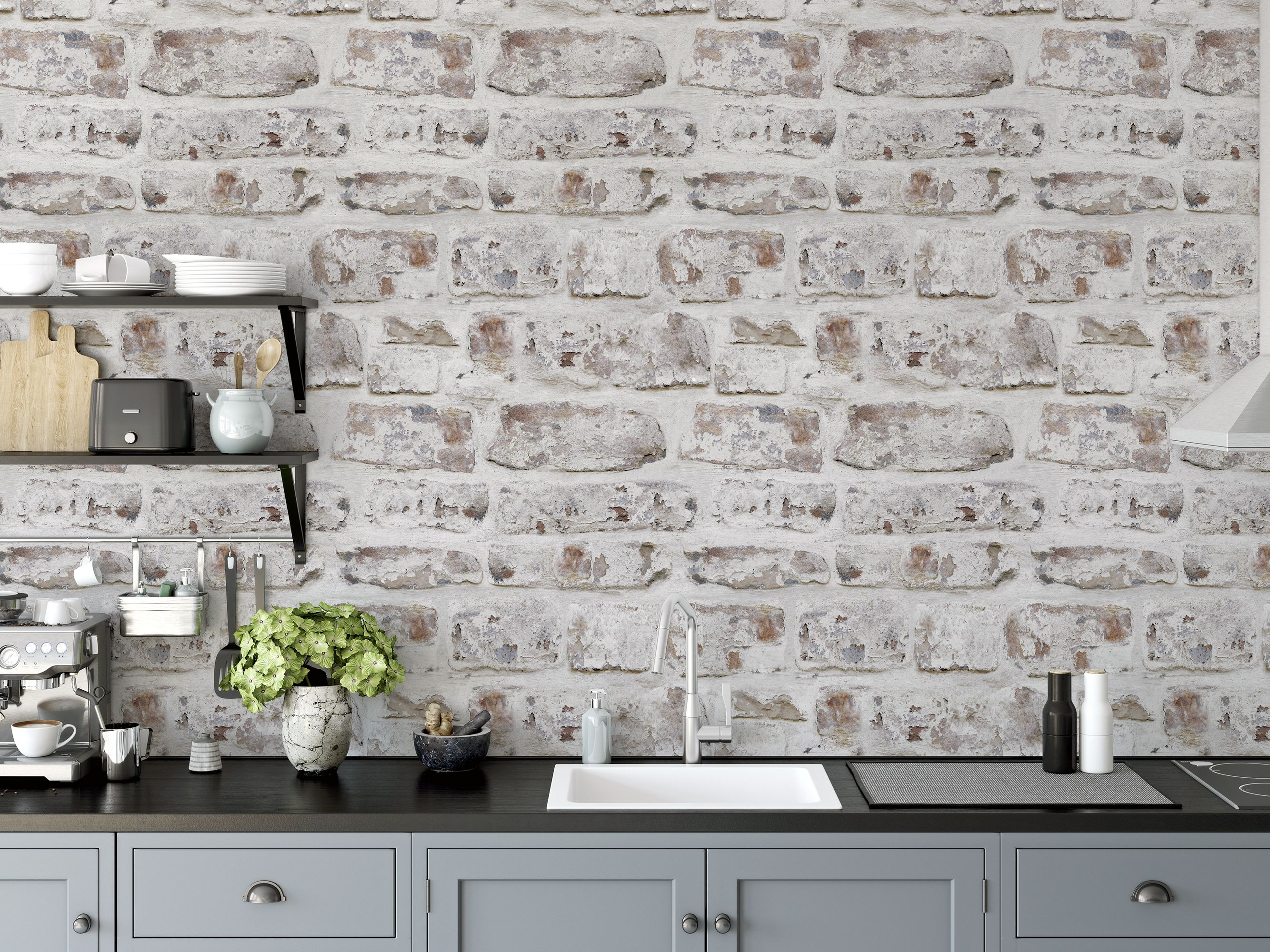 Artistick White Washed Wall Peel And Stick Non Woven Wallpaper 300204 The Home Depot White Wash Walls Washing Walls Brick Wallpaper Roll