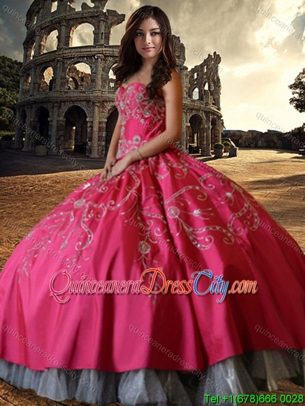 ef4aee0241 Wild West Elegant Hot Pink Sweetheart Quinceanera Dress with Embroidery and  Beading