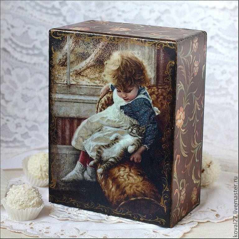 """Купить Шкатулка """"Милые детки"""" - коричневый, шкатулка декупаж, милый подарок, подарок девушке"""