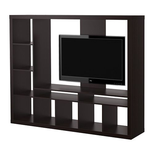 IKEA - EXPEDIT, TV storage unit, black-brown , The shelves can be
