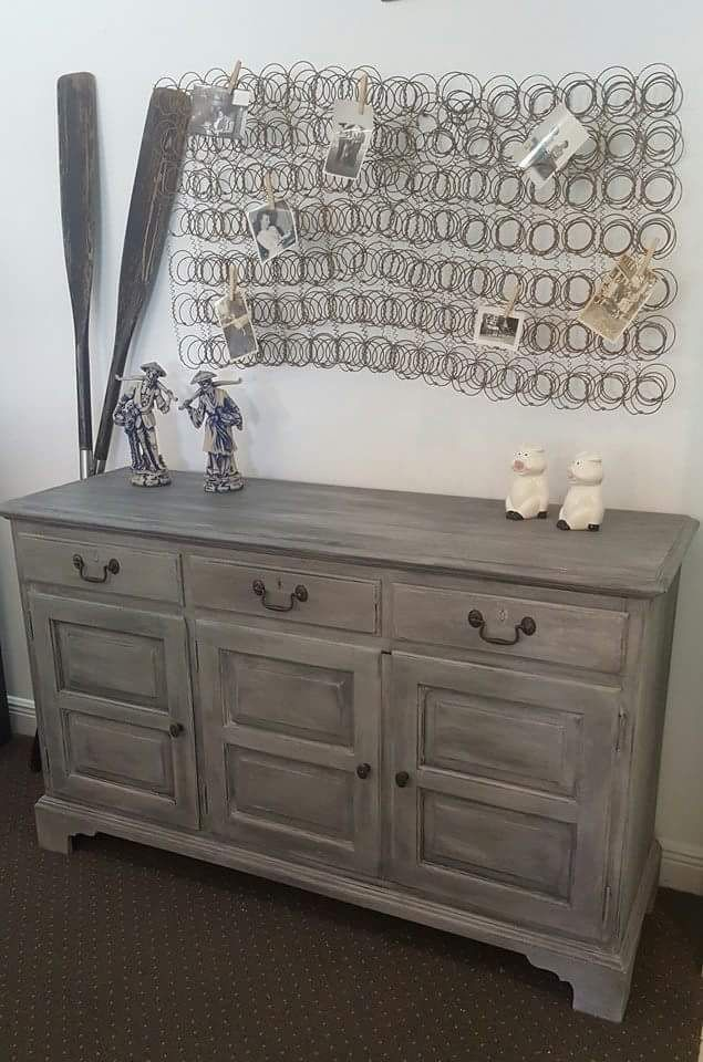 Chalk paint annie sloan paris grey buffet dresser for E mobilia paris