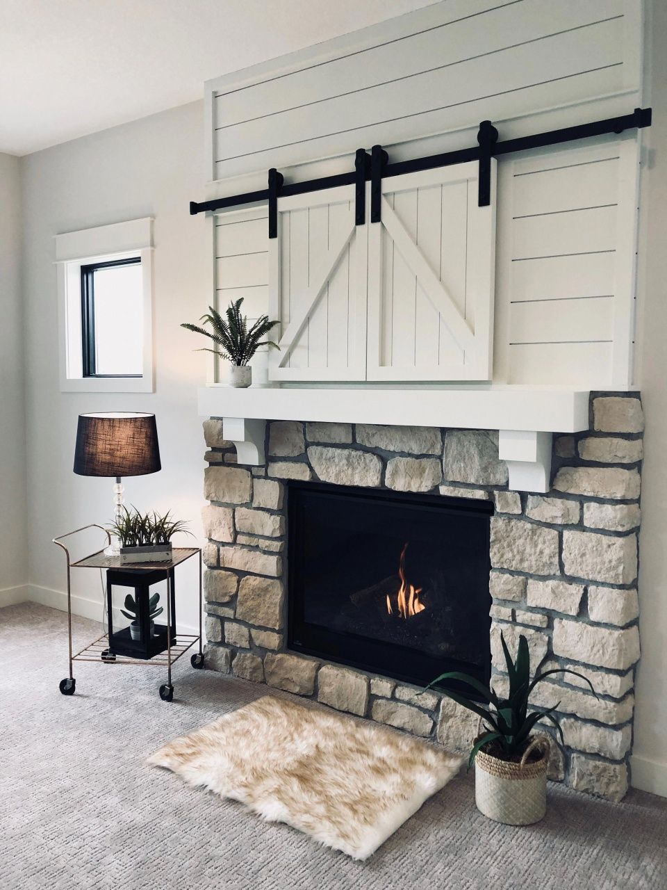 Whitewashed Brick And Shiplap Fireplace With Tv Over Mantle In 2020 White Shiplap Wall Living Room With Fireplace Fireplace Design