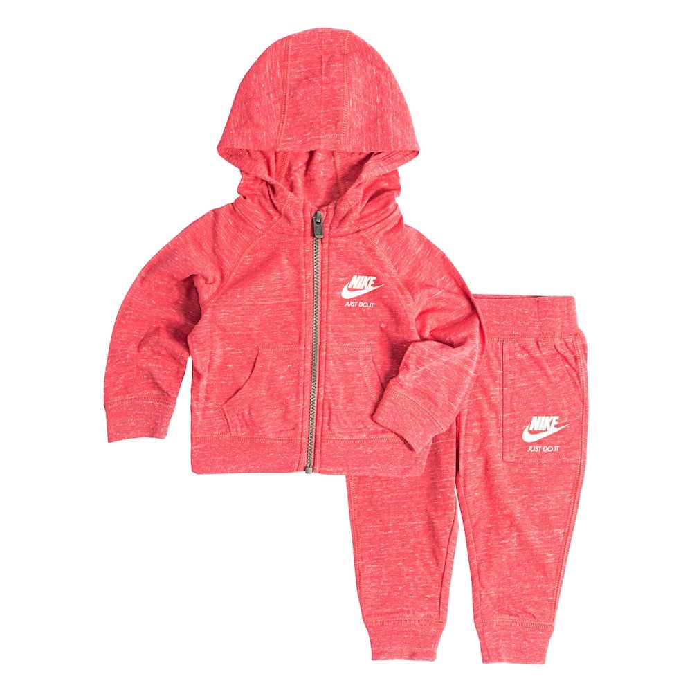 48ce1f1e02 Toddler Girl Nike Heathered Zip-Up Hoodie & Pants Set, Size: 3T, Light Red