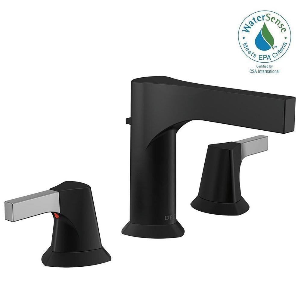 Delta Zura 8 in. Widespread 2-Handle Bathroom Faucet with Metal ...