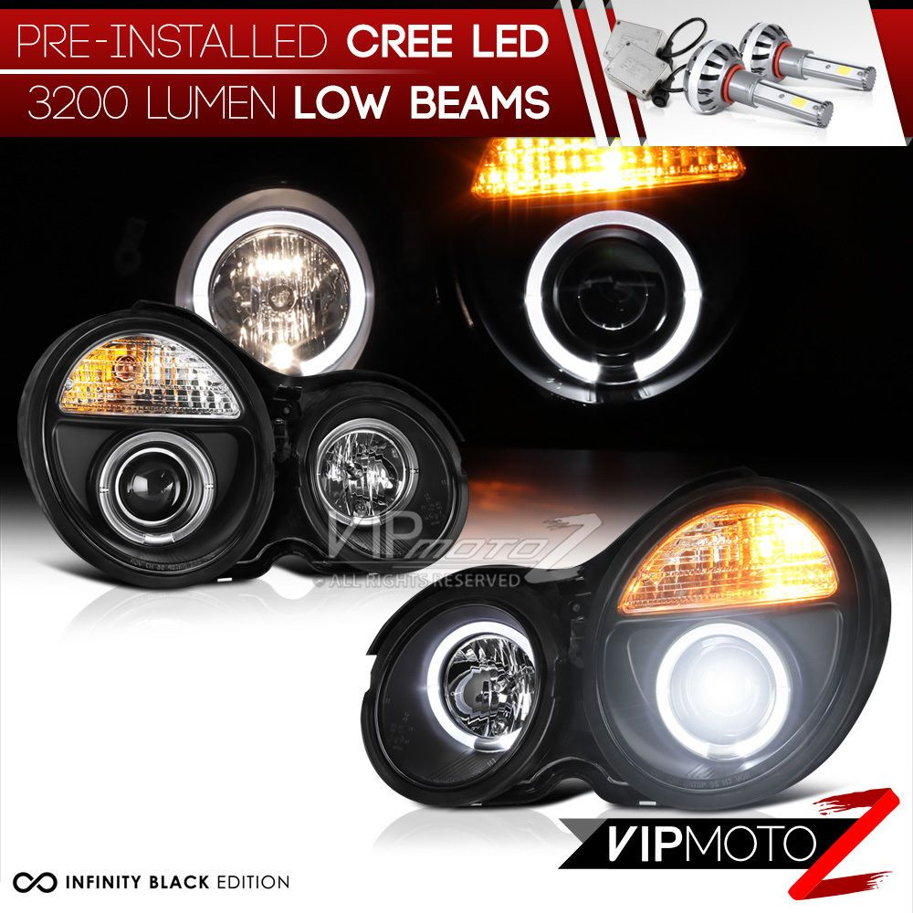 Built In Led Low Beam Projector Black Halo Headlight Lamp 96 99 W210 E Class Led Beams Black Halo