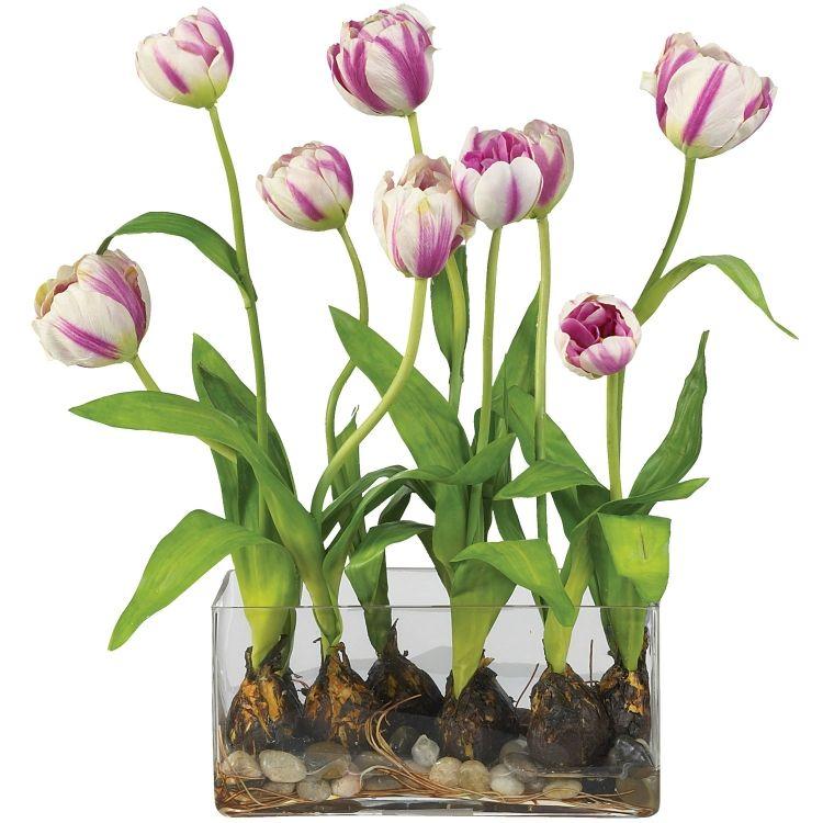 Ostern Fruhling Fruhlingsdeko Mit Tulpen Gestecke Selber Arrangieren Kunstliche Blumenarrangements Kunstliche Blumen Blumenarrangements