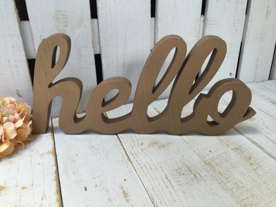 Wooden Hello Sign Hello Chunky Wood By Lacybellesboutique On Etsy Gallery Wall Decor Hello Sign Gallery Wall