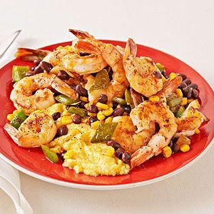 Cajun Shrimp with Polenta and black beans