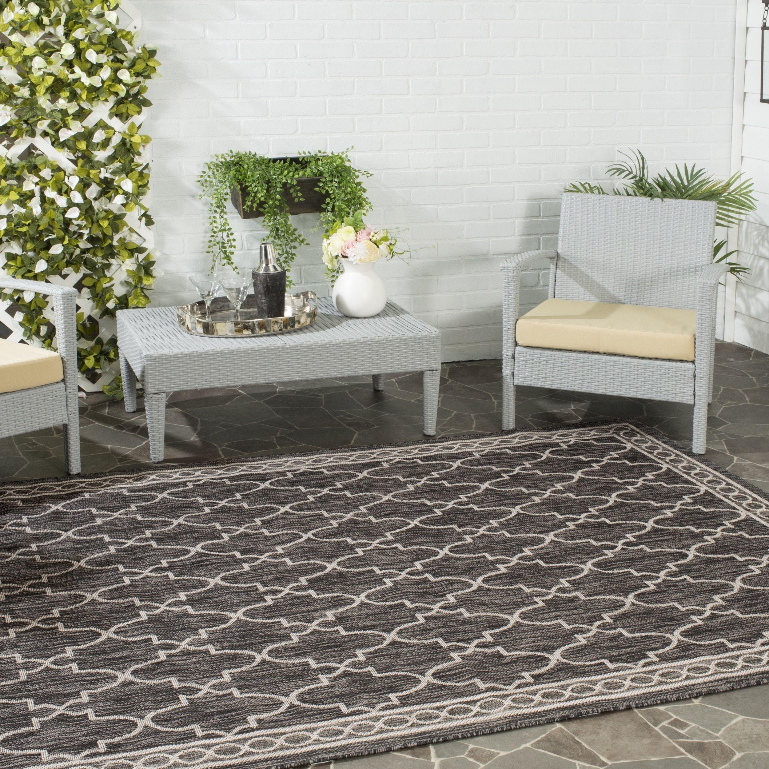 Safavieh indoor outdoor courtyard black beige rug u x u