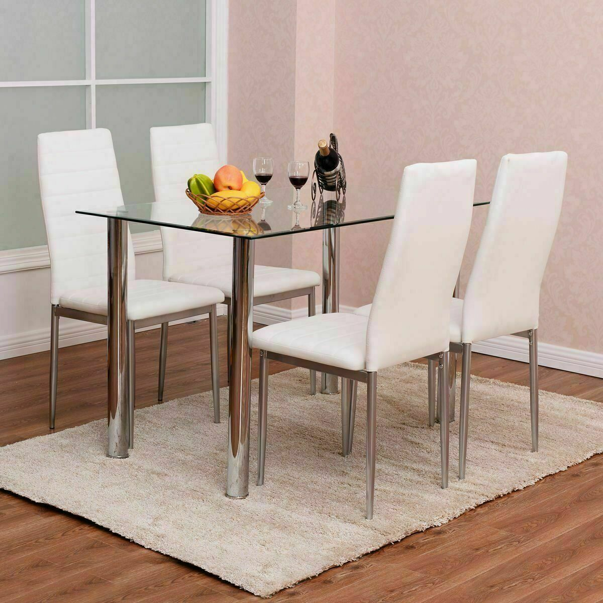 110cm Dining Table Set Tempered Glass Top Table 4 Chairs Kitchen