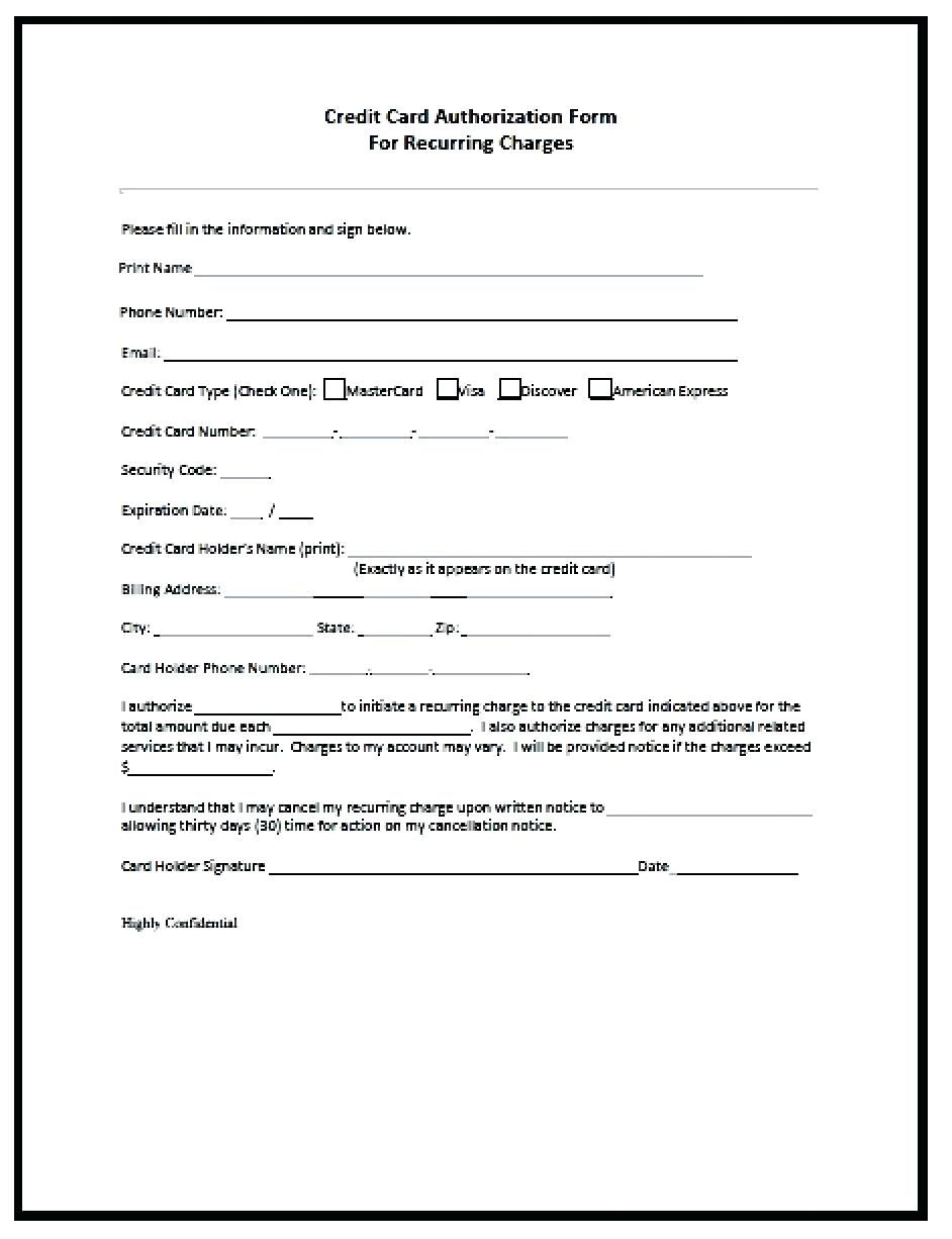 21 Credit Card Authorization Form Template Pdf Fillable 2019