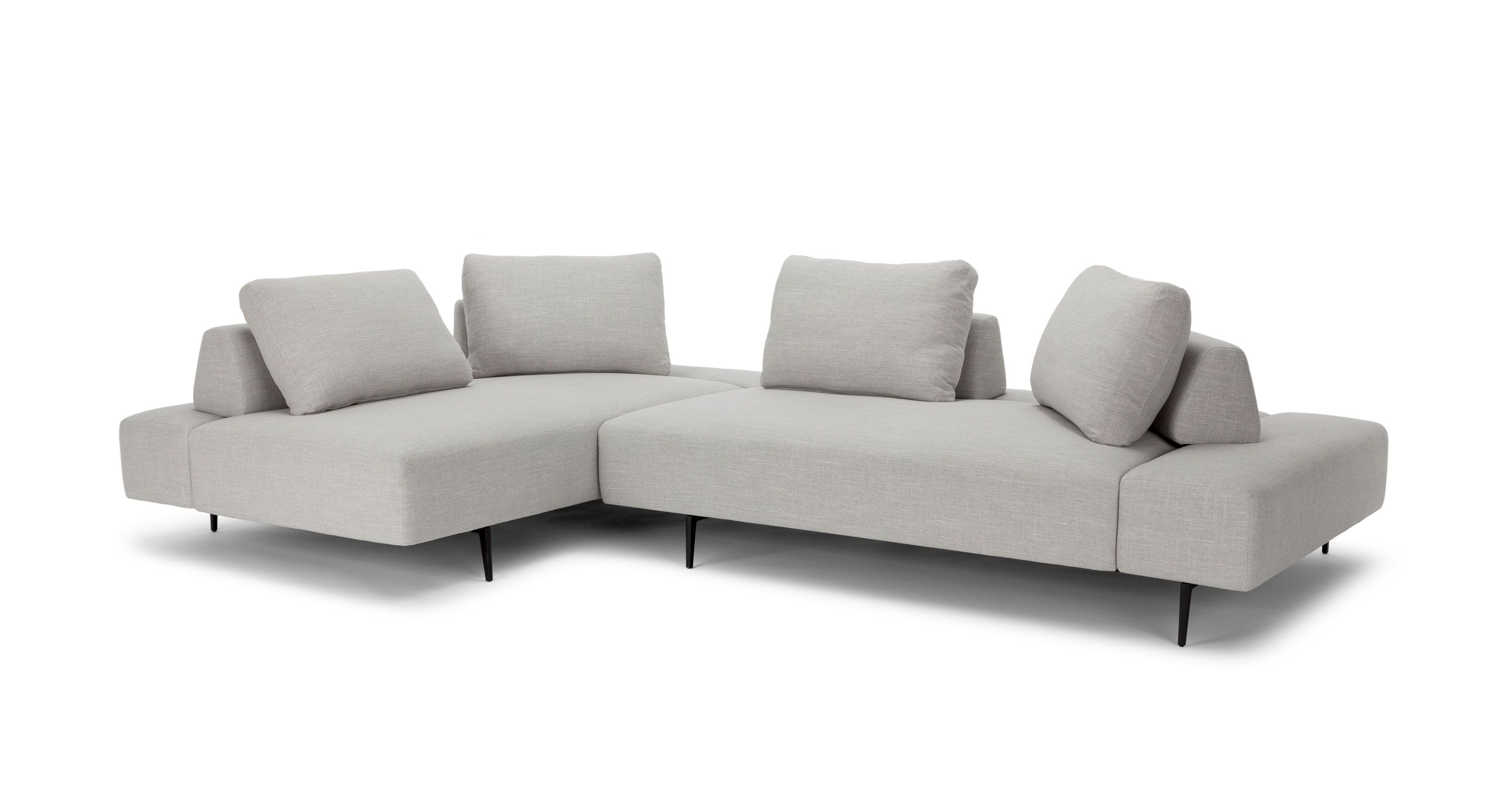 Divan Mist Gray Left Sectional Mid Century Modern Sectional Sofa