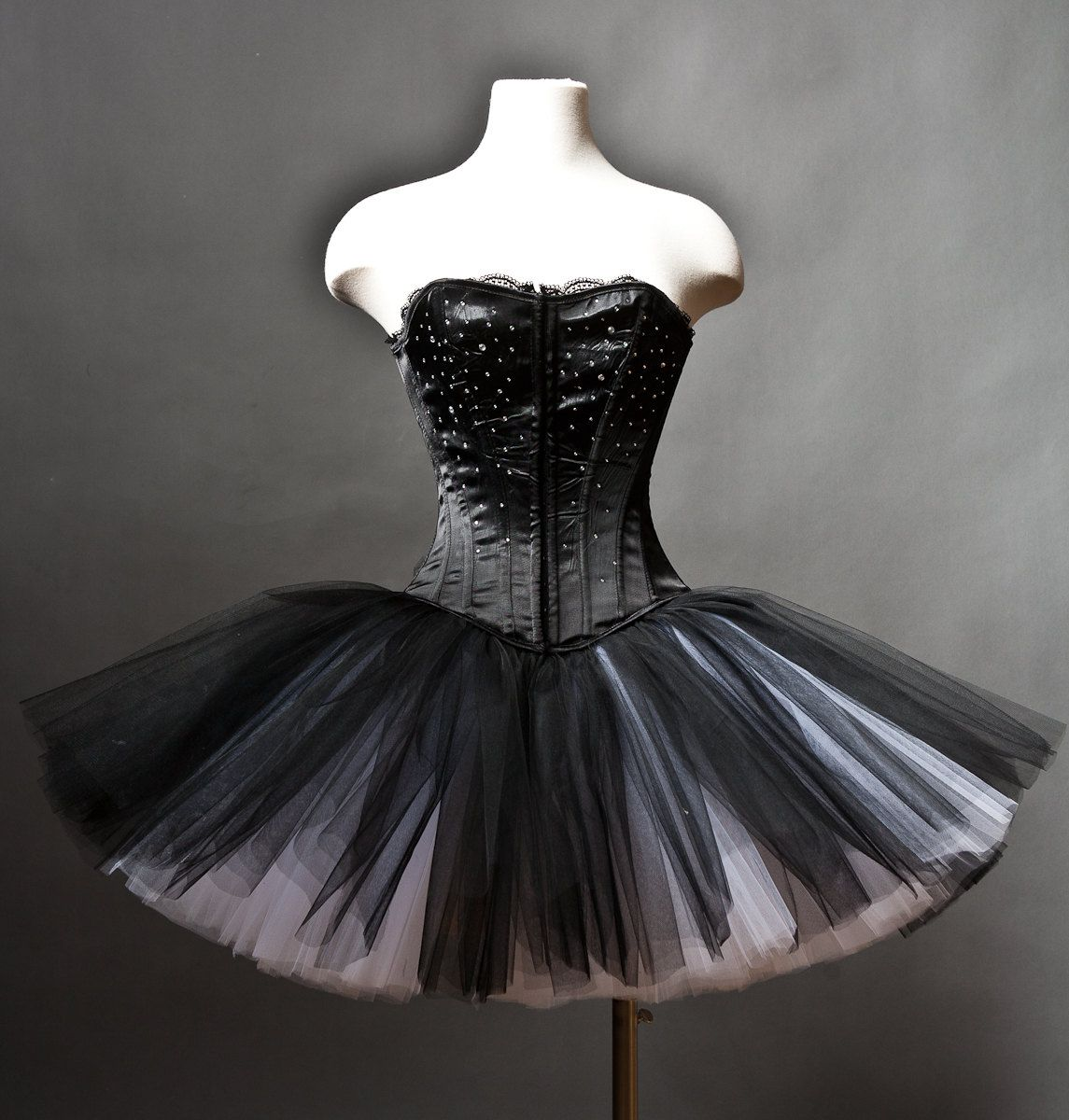 Custom Size Black And White Rhinestone Tulle Burlesque