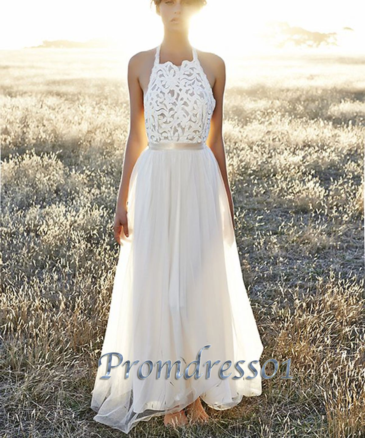cute lace white open back modest long prom dress for teens