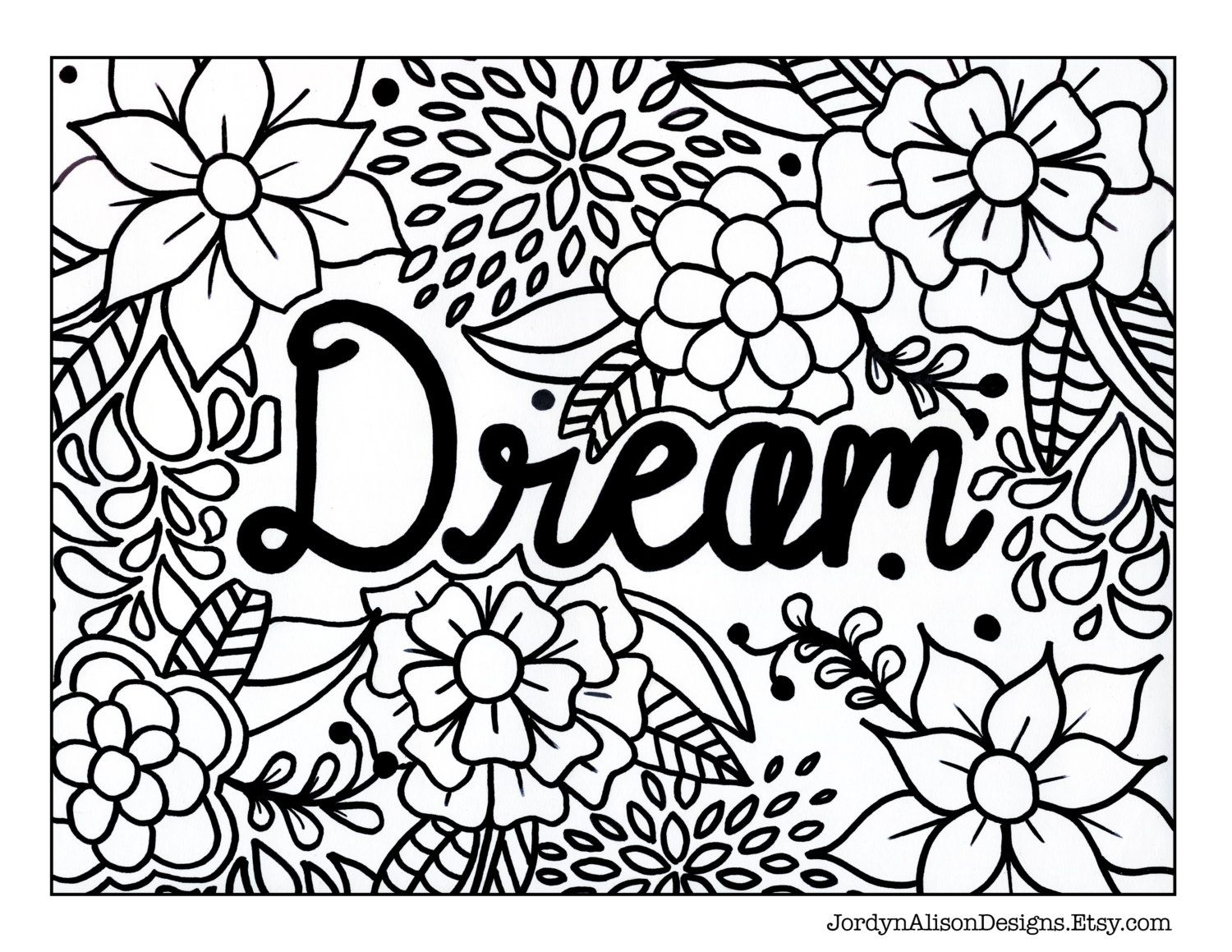 Dream Coloring Page Instant Download Zentangle Coloring Pages