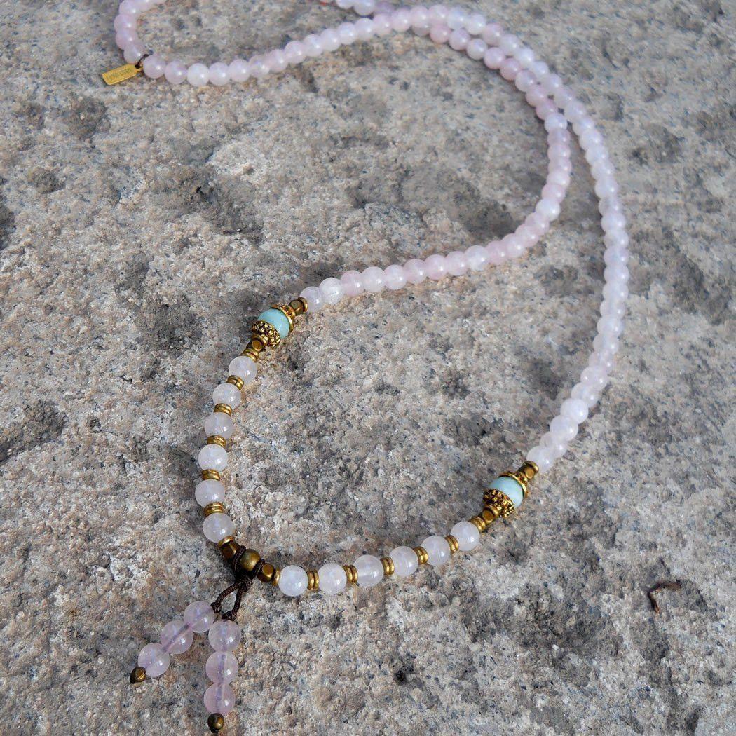 Bracelets - Healing And Confidence, Pink Quartz And Amazonite Gemstone 108 Bead Convertible Mala Necklace
