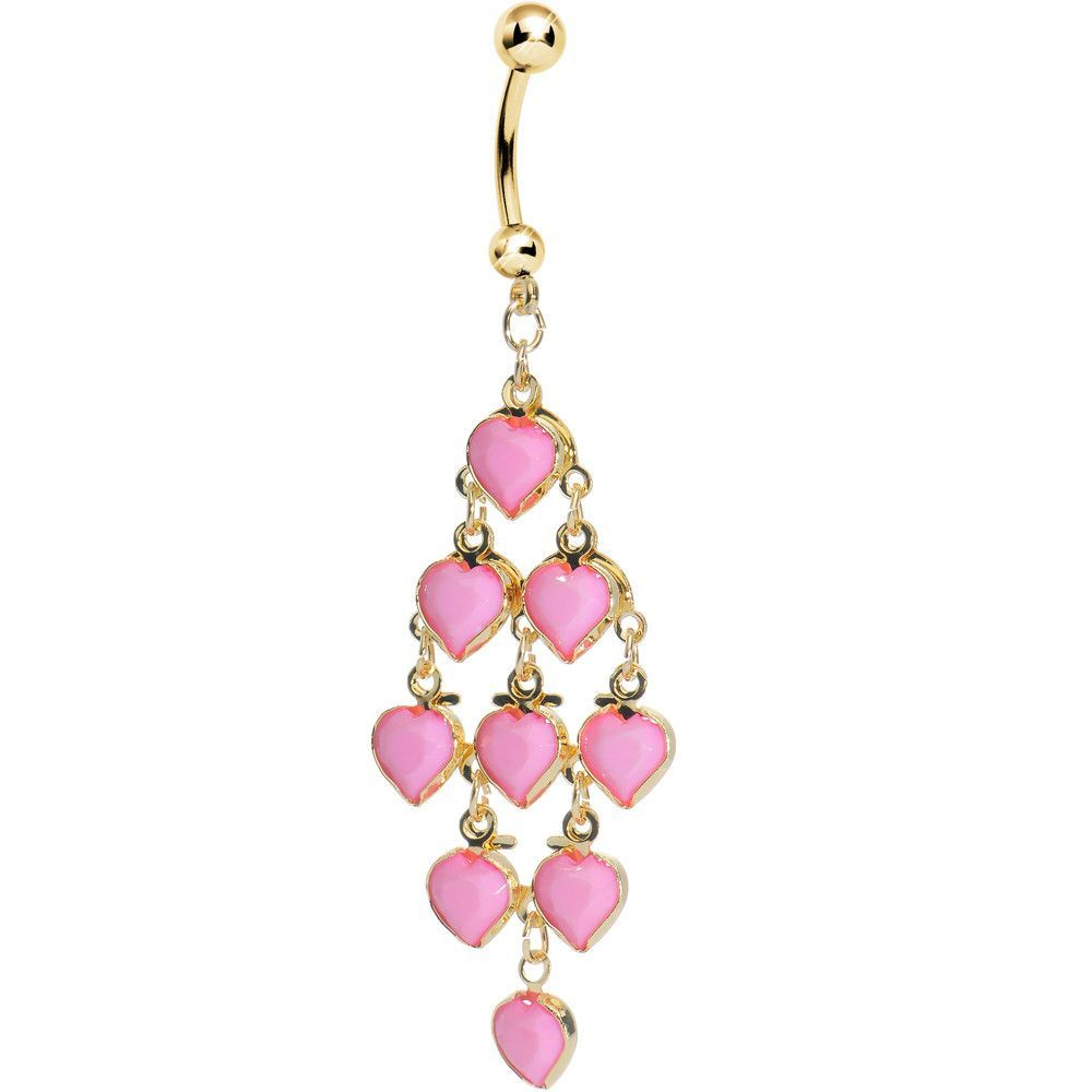 Re piercing nose  Gold Plated Faux Opaque Pink Stone Hearts Chandelier Belly Ring