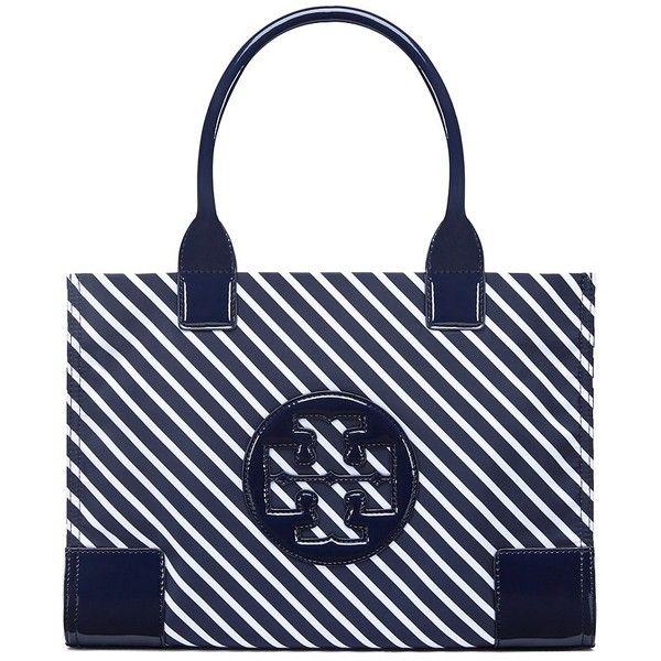 e3ed4802fd8f Tory Burch Ella Stripe Mini Tote ( 175) ❤ liked on Polyvore featuring bags