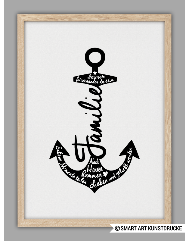 poster f r die familie mit typo und anker family art print with anchor and lettering made by. Black Bedroom Furniture Sets. Home Design Ideas